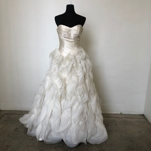 Sweetheart Gown With Rose Like Ruffle Skirt